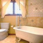 Example of yellow tile installation in a remodeled bathroom