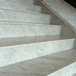 A close up view of a marble staircase