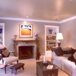 A remodeled family room granite fireplace